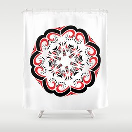 Floral Black and Red Round Ornament Shower Curtain