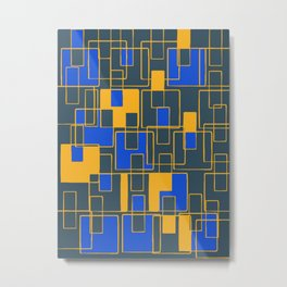 Abstract Tiles Yellow and Blue Metal Print