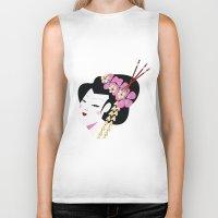 geisha Biker Tanks featuring Geisha by Cs025