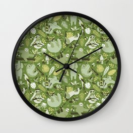 Easy living jungle sloths | green Wall Clock