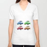 cars V-neck T-shirts featuring cars beetles  by mark ashkenazi