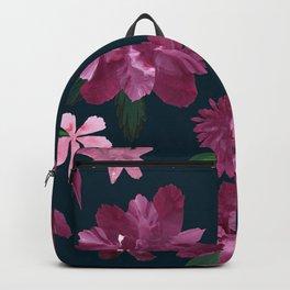Burgundy Blush Floral Pattern Backpack