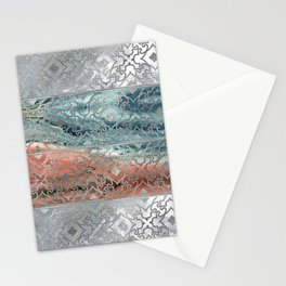 Silver glitter pattern on mother of pearl and jasper Stationery Cards