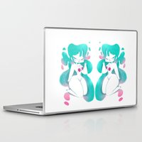 pinup Laptop & iPad Skins featuring Blue pinup by MissPaty