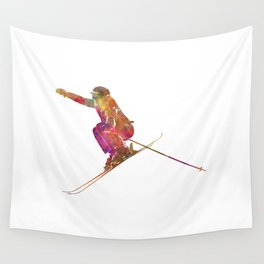 Woman skier skiing jumping 03 in watercolor Wall Tapestry