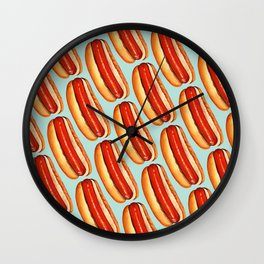 Hot Dog Pattern Wall Clock