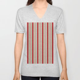 Red Green and White Candy Cane Stripes Thick and Thin Vertical Lines, Festive Christmas Unisex V-Neck