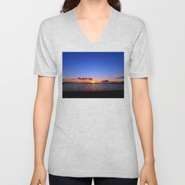 Sunset on the River in Georgetown Unisex V-Neck