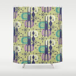 Retro Atomic Mid Century Pattern Blue Green Purple and Turquoise Shower Curtain