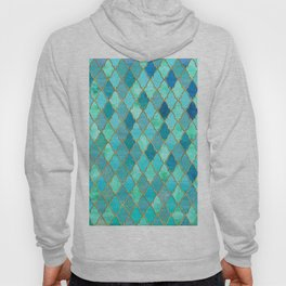 Aqua Teal Mint and Gold Oriental Moroccan Tile pattern Hoody