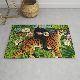 Henri Rousseau Dreaming of Tigers tropical big cat jungle scene by Henri Rousseau Rug