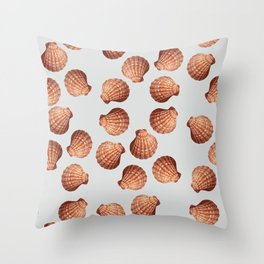Grey Big Clam pattern Illustration design Throw Pillow