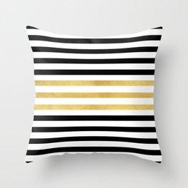 Luxurious zebra golden black lines Throw Pillow