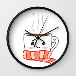 Cute smiling winter coffee with scarf Wall Clock