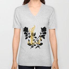 Locust Tattoo roses and L monogram by Sarah de Azevedo Unisex V-Neck