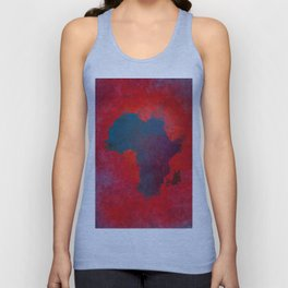 Africa map 3D red blue #africa #map Unisex Tank Top