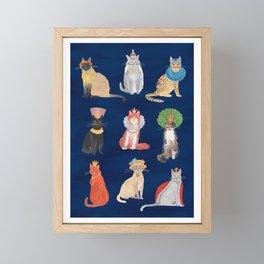 Cat Queens (Blue) Framed Mini Art Print