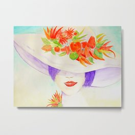 Watercolor Chilli Girl Fashion, Chilli Hat Metal Print