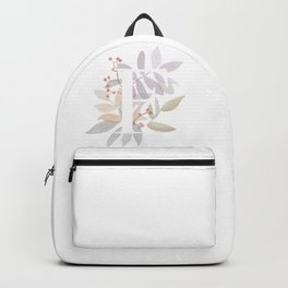 Rustic Watercolor Monogram - Initial F - Farmhouse Typography - Wreath Design Backpack