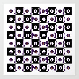 Violet and Gold Chessboard and Chess Pieces pattern Art Print