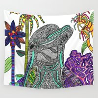 dolphin Wall Tapestries featuring Dolphin by Irrelephant Art by Laura Jane Powell