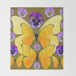 SPRING PURPLE PANSY FLOWERS & YELLOW BUTTERFLIES GARDEN Throw Blanket