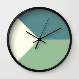 Green Blue Cream Abstract Geometric Art Wall Clock