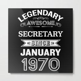 Secretary January 1970 50 Birthday Gift Metal Print