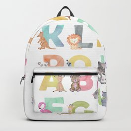 Watercolor Alphabet Animals Backpack