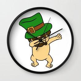 Dabbing St Patrick_s Day Pug Dog Leprechaun Wall Clock