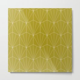 Gisela Geometric Line Pattern - Green Apple Metal Print