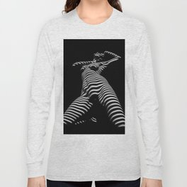 7068s-KMA Black White Nude Abstract Woman on Her Knees Zebra Styriped Long Sleeve T-shirt