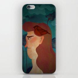 lady with bird iPhone Skin
