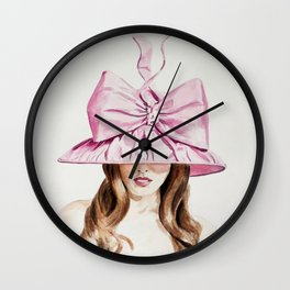 Pink Derby Hat Wall Clock