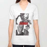 django V-neck T-shirts featuring Django Unchained by Rik Reimert