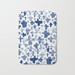 Navy Blue Crosses Bath Mat