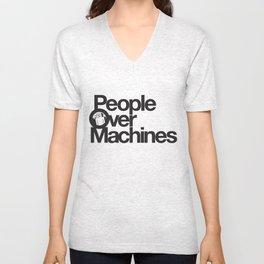 People Over Machines Unisex V-Neck