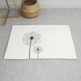 Black And White Dandelion Sketch Rug