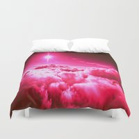 hot pink Duvet Covers featuring Hot Pink Clouds by 2sweet4words Designs