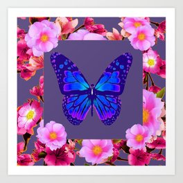 GREY ART DECO BLUE BUTTERFLY PINK FLOWERS Art Print