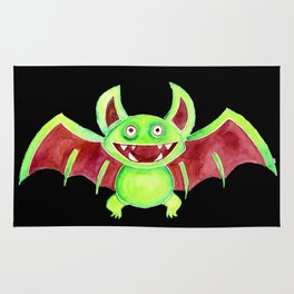 Watercolor Art | Whimsy Bat (Black Background) Rug