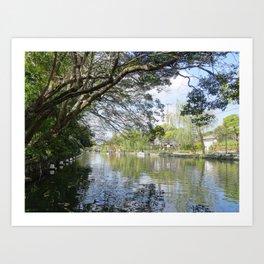 reflections in a canal in yanagawa Art Print