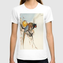 Pheasants on tree - Japanese woodblock print T-shirt