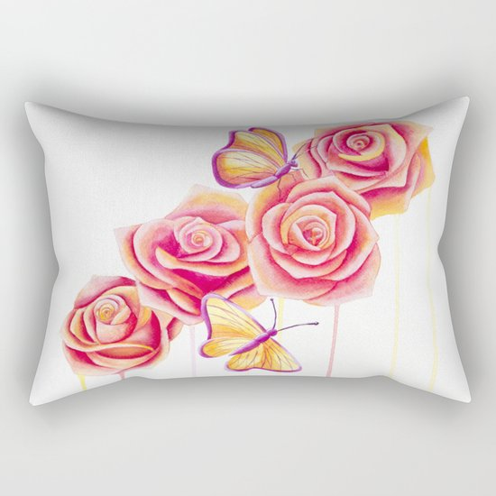 Butterflies and Roses Rectangular Pillow