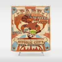 ferret Shower Curtains featuring Pabu the Amazing Fire Ferret by JackiesGamingArt