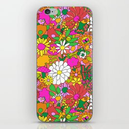 60's Groovy Garden in Neon Peach Coral iPhone Skin