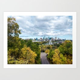 Painting of Warm Autumn Day Over Downtown Edmonton AB During Fall 2019 Art Print
