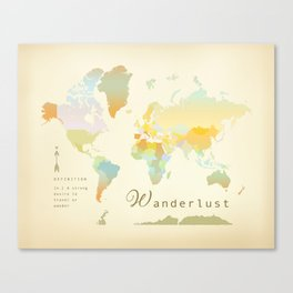 Wanderlust Vintage World Map Art Print Canvas Print
