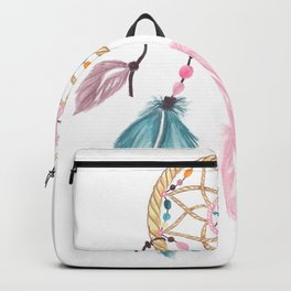 Bright watercolor boho dreamcatcher feathers Backpack