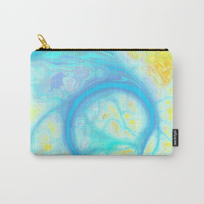 Streams of Joy – Abstract Cosmic Aqua & Lemon Carry-All Pouch